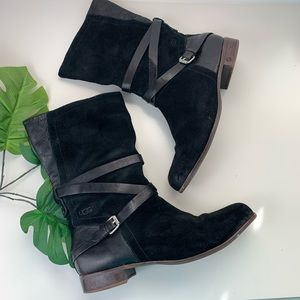 UGG Deanna Leather Suede Moto Riding Boots 11